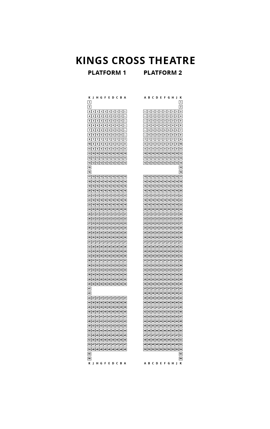 King's Cross Theatre Seating Plan