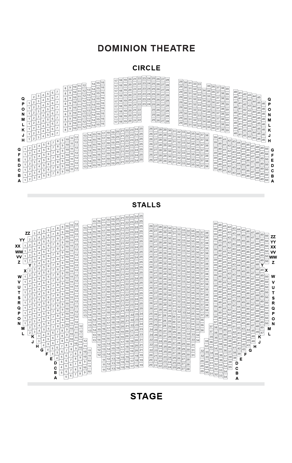 Dominion Theatre Seating Plan