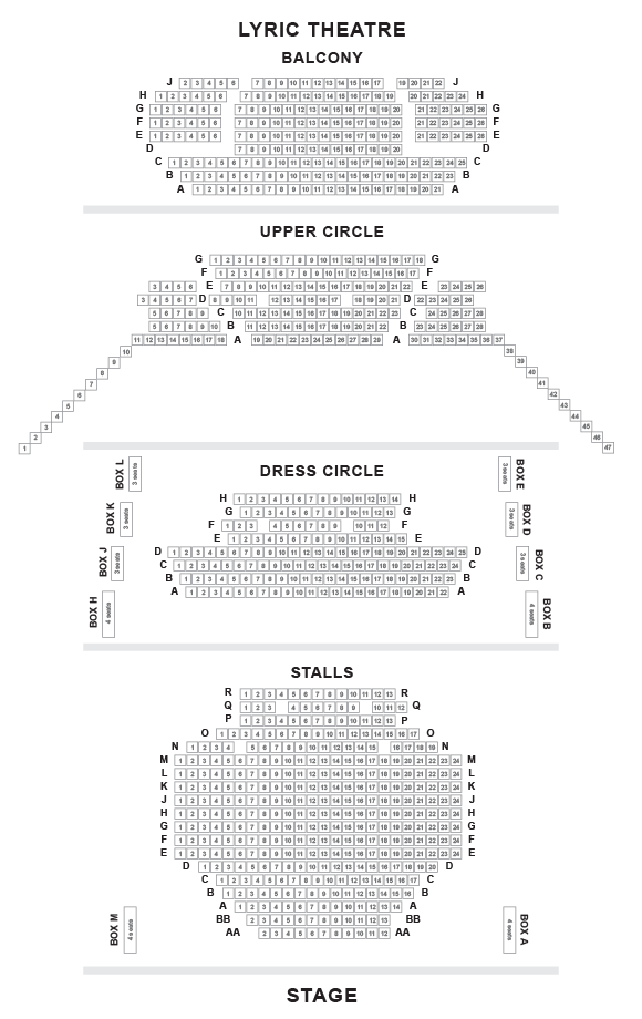Lyric Hammersmith Theatre Seating Plan