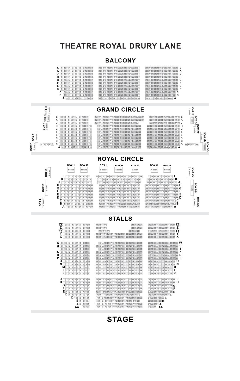 Theatre Royal Drury Lane Seating Plan