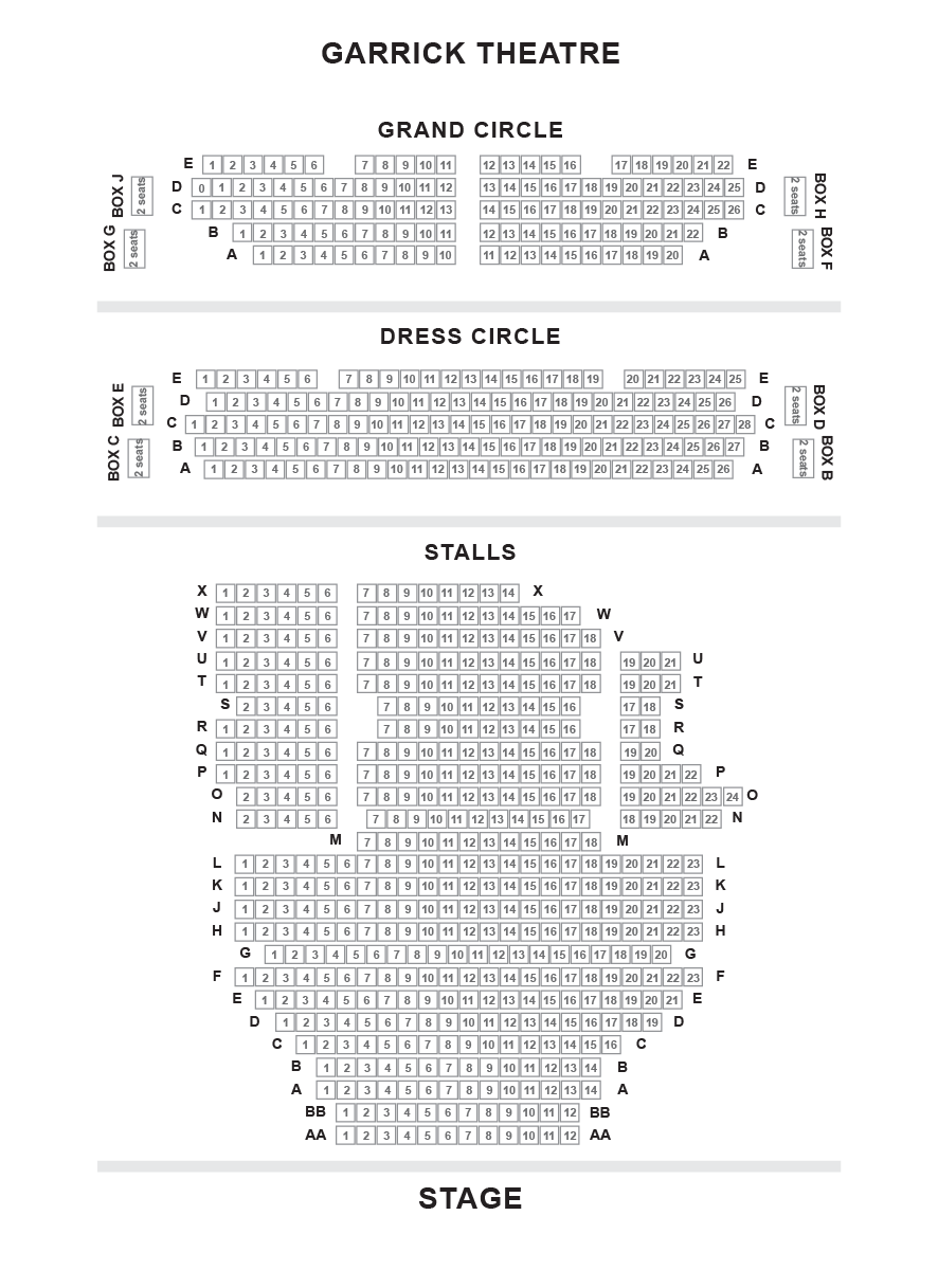 Garrick Theatre (Branagh Theatre) Seating Plan